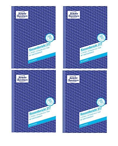 AVERY Zweckform 317 Kassenbericht weiß/gelb (4 Stück, Kassenbericht A5)