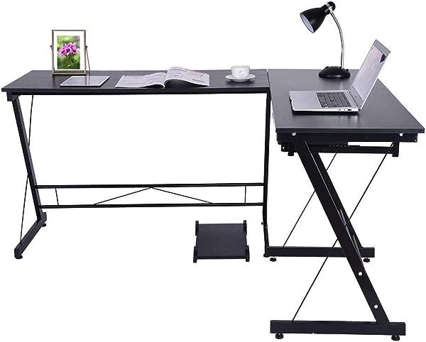 Pollyhb L Shape Corner Computer Desk For Home Office Laptop Table Workstation