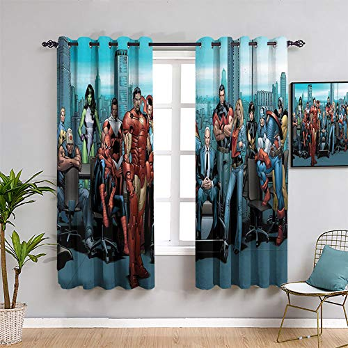 Elliot Dorothy Avengers Comics Total Blackout Window Curtains Waterproof Window Curtain for Kids Bedroom W72 x L63Inch Machine Washable