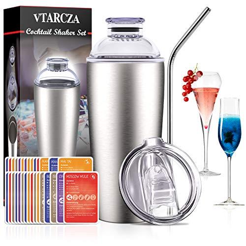 VTARCZA Cocktail Shaker Set, Cocktail Set 700ML Cocktailshaker Geschenk Cocktail Bar Set Cocktails Mixer Boston Shaker mit Edelstahlstroh, 30 Stck Rezeptkarte Bar Zubehör für Zuhause oder die Bar