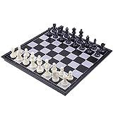 Buty Tablero de ajedrez Plegable magnético Medieval 36x36cm de ajedrez Plegable del Tablero de ajedrez Juego de ajedrez Negro