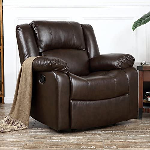 Best BELLEZE Deluxe Heavily Padded PU Leather Recliner Chair Lounge Club, Brown