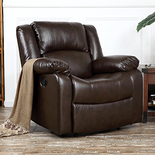 BELLEZE Deluxe Heavily Padded PU Leather Recliner Chair Lounge Club, Brown
