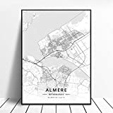 zhuifengshaonian Póster Almere Alkmaar Arnhem Amersfoort Haarlem Utrecht Zwolle Países Bajos Mapa (ZW-1838) Sin Marco Poster 40x60cm