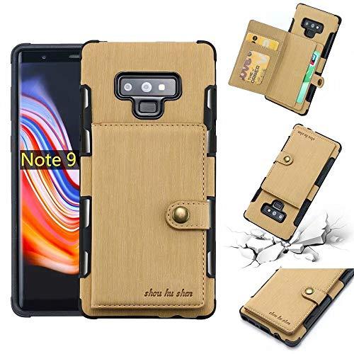 Aralinda Funda tipo cartera de piel sintética cepillada, con ranuras para tarjetas y ranuras para tarjetas, duradera, a prueba de golpes, compatible con Samsung Galaxy Note 9 (color beige)