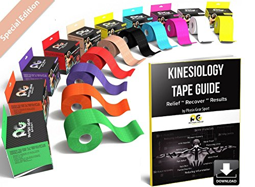 Physix Gear Sport Kinesiology Tape - Free Illustrated E-Guide - 16ft Uncut Roll - Best Pain Relief Adhesive for Muscles, Shin Splints Knee & Shoulder - 24/7 Waterproof Therapeutic Aid (1PK Nude)