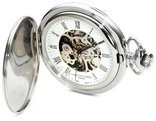 Charles-Hubert, Paris 3918 Premium Collection Stainless Steel Mechanical Pocket Watch: Watches
