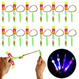 JYEBJD LED Helicopter Shooter, 12 Pcs Slingshot Helicopters Flying Toy, Amazing Arrow Helicopter Glow in The Dark Party Supplies for Kids