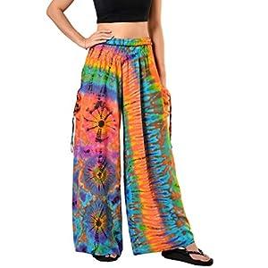 Orient Trail teñida en frío de la mujer Tie-Dye ancho pierna Palazzo Pantalones de Yoga tamaño 6–22 | DeHippies.com