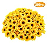 CEWOR 200pcs Artificial Yellow Sunflower Heads 1.8 Inches Silk Fabric Fake Sunflower Heads for Wedding Decoration Bridal Bouquet DIY Handicrafts