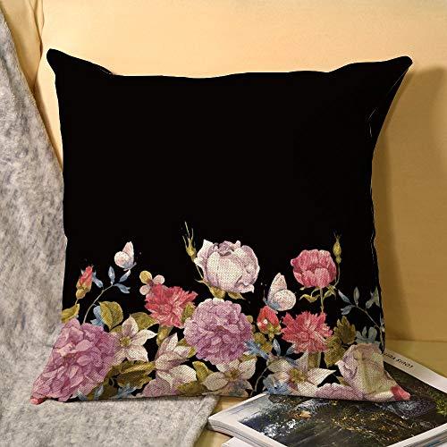 Funda de almohada de lino blanco con impresión de doble cara de mariposas polinizan en el jardín cuadrado para dormitorio sofá con cremallera invisible decoración fundas de cojín 45 x 45 cm