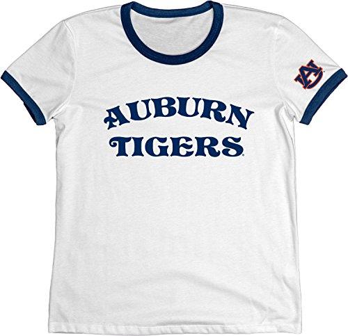 Blue 84 Adult Women Auburn Tigers NCAA Vintage Supima Ringer Tee, Navy, Large