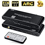 avedio links 4K@60H HDMI Switch 4 in 1 Out, 4-Port HDMI Switch Audio Extractor with Toslinkl/Coaxial/3.5mm Audio Out, HDMI2.0b Muti Port Switch Box with Remote Support HDCP 2.2, ARC, HDR