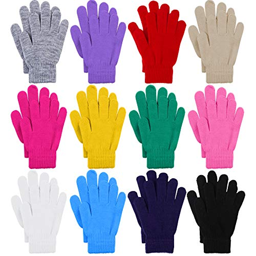 Cooraby 12 Pairs Winter Magic Gloves Stretchy Warm Knit Gloves with Mesh Storage Bag for Men or Women (Assorted Colors, Small)