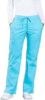 Cherokee Women's Mid Rise Moderate Flare Drawstring Pant X-Large Turquoise