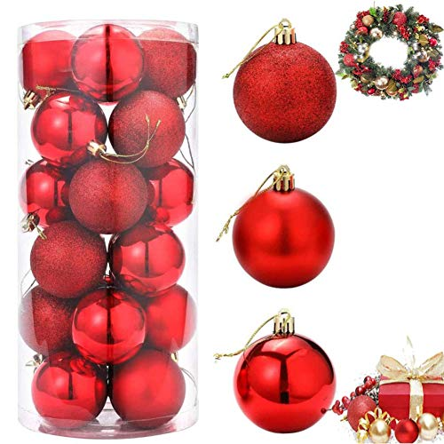 ZHOUZHOU 24PCS Bolas de Navidad,Decoración de árbol de Navidad,Bolas Arbol de Navidad,Adornos Navideños Arbol,Regalos de Colgantes de Navidad,4cm (Rojo)