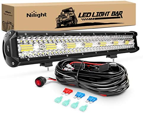 Nilight ZH409 20 Inch 420W Triple Row Flood Spot Combo 42000LM LED Light Bar with Heavy Duty product image