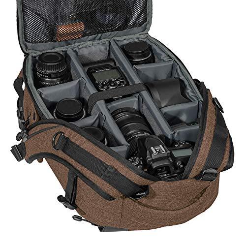 PEDEA DSLR-Kamerarucksack Fashion Fotorucksack für Spiegelreflexkameras mit wasserdichtem Regenschutz und Variabler Inneneinteilung (Rucksack, braun)
