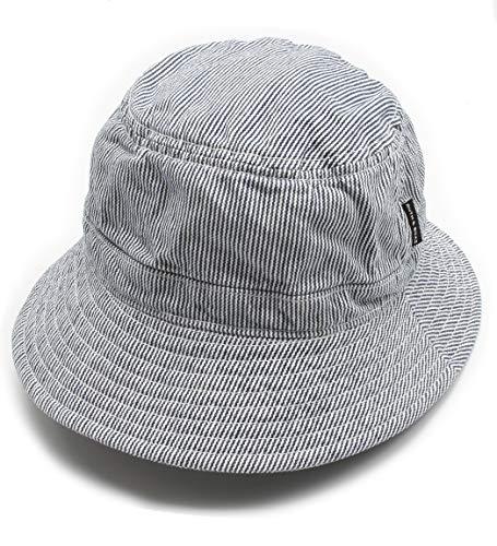 Ruth&Boaz Unisex Stone Washed 100% Cotton Bucket Hat Travel Hat (Denim Stripe (Navy))