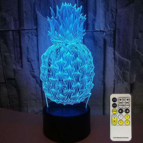 Novelty Pineapple 3D Night Light 7 Colors Changing Nightlight with Smart Touch & Remote Control Optical Illusion Lamps for Kids or as Gifts for Women Kids Girls Boys