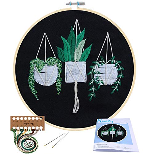 Full Range of Embroidery Starter Kit with Pattern, Kissbuty Cross Stitch Kit Including Embroidery Black Cloth with Pattern, Bamboo Embroidery Hoop, Color Threads and Tool Kit (Scindapsus)