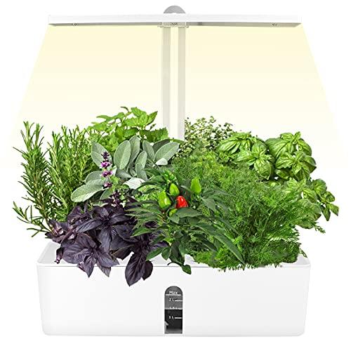 SEAAN Sistema Coltivazione Idroponica Kit Mini Growing Plant LED Light, Interruttore Temporizzazione 16 Ore/Materiale Lega Alluminio, per Vari Semi Piante