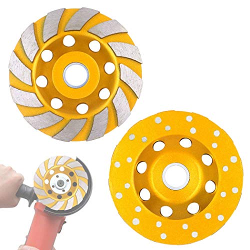Tanzfrosch 2 Pack 4 inch Diamond Cup Grinding Wheel 12-Segments Heavy Duty Turbo Row Grinding disc for Angle Grinder Polishing and Cleaning Concrete Granite Marble Stone Rock Cement