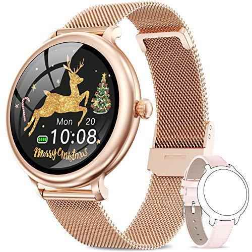 NAIXUES Smartwatch, Reloj Inteligente para Mujer, Reloj Deportivo Impermeable IP68 con Monitor de Sueño Pulsómetro Podómetro Notifica Whatsapp, Pulsera Actividad Inteligente para Android iOS (Oro)