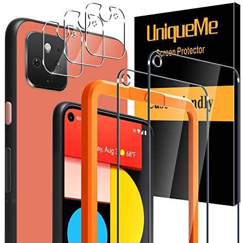 [5 Pack] UniqueMe 2 Pack Protector de Pantalla Compatible con Google Pixel 5 y 3 Pack Protector de lente de cámara Cristal Templado, [Cobertura máxima][Sin Burbujas] HD Vidrio Templado