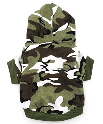 SMALLLEE_LUCKY_STORE BFL002-S Army Green Hoodie Hooded Christmas T Tee shirt Small dog clothes costume - green camo (Small (Chest14Back8.5))