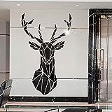 3D Cervo Specchio Decorativo da Parete Wall Sticker Adesivi Adatto per Adesivi Murali Parete Sfondo Divano Soggiorno Ufficio Adesivo Parete Cervo Specchio Decal Casa Decorazione