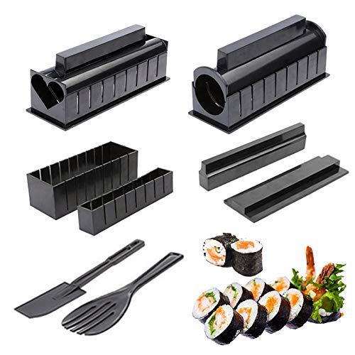 Sushi Maker, Set Sushi Kit Completo Fai Da Te per Principianti con 4 Stampi per Sushi in Plastica per Fare Rotoli di Riso per Sushi a Forma di Cuore, Tondo, Triangolo e...