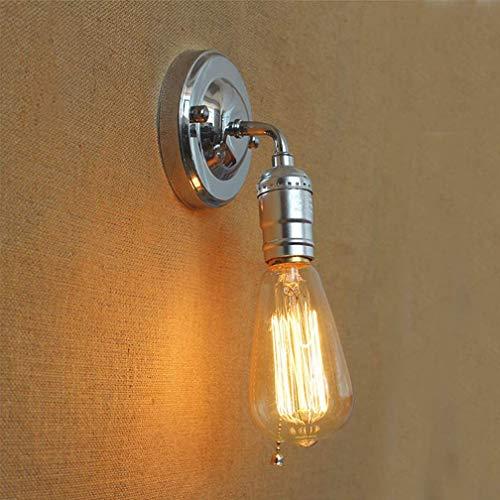 Industriële Edison minimalistische wandlampen, gang vintage rustiek zwart opknoping wandlamp, keuken boerderij slaapkamer bed antieke schans lamp, LOFT hal interieur eenvoudige moderne verlichting (zilver)