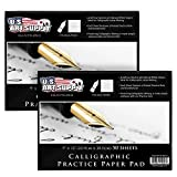U.S. Art Supply (Pack of 2 Pads) - 9' x 12' Premium Calligraphic Practice Paper Pad, 19 Pound Bond...