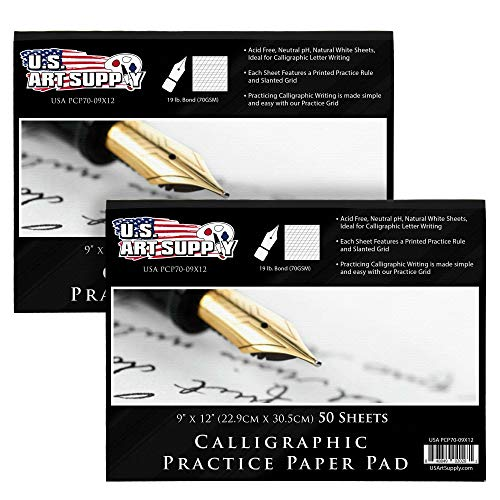 U.S. Art Supply (Pack of 2 Pads) - 9' x 12' Premium Calligraphic Practice Paper Pad, 19 Pound Bond (70gsm), Pad of 50-Sheets, Calligraphy Paper with Printed Practice Rule and Slanted Grid