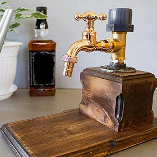 DJLOOKK Dispensador de Madera de Whisky, Forma de Grifo, Licor, Alcohol, dispensador de Madera de Whisky, Regalo del día del Padre, para cenas de Fiesta, Bares y Estaciones de Bebidas,Single