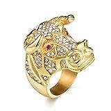 USUASI Men's Bull Head Monster Goldtone Ring Filled Cz Golden Rings Jewelry (Gold, 12)