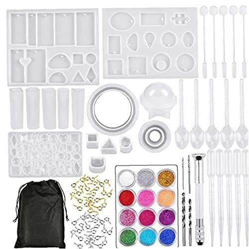 DierCosy Tools 94 piezas Kit de molde de fundición de resina, juego de herramientas de pegamento de cristal de molde colgante para joyería DIY colgante llavero pulsera