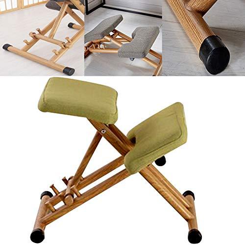 DBMGB Kniestuhl Höhenverstellbar, Kniehocker Kniestuhl Ergonomisch Holz, Sitzhocker Bürohocker Zur Linderung Der Wadenmuskulatur, Grau