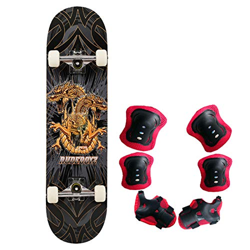 LGPNB Complete Skateboard Beginner, Deck 7 Floors Maple Complete Double Kick 31 Inches Skateboard Load 100KG, Including Protective Gear,Perfect Children's Gifts Skeleton