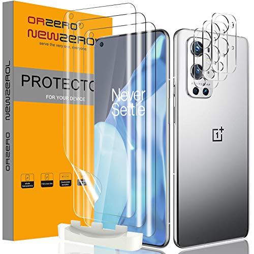 NEWZEROL 3 Stück Bildschirmschutz + 3 Stück Kameraschutz Kompatibel für Oneplus 9 Pro [ Fingerabdruck-ID] Blasenfreie Klar HD Weich TPU Bildschirmschutzfolie & Kamera panzerglas - Transparent