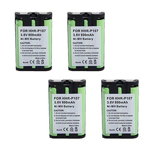 4 Fenzer Rechargeable Cordless Phone Batteries for Panasonic HHR-P107 HHRP107 HHR-P107A HHRP107A Cordless Telephone Battery Replacement Packs
