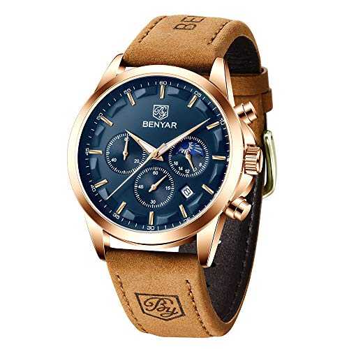 Relojes Hombre BENYAR Cronógrafo para Hombre Movimiento Cuarzo Diseño Deportivo de Moda Casual Relojes de Pulsera Correa de Cuero 3AMT Impermeable Regalo Elegante