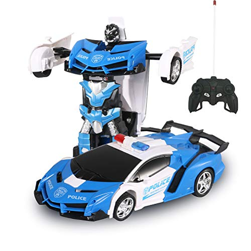 GAINER Transform Car Robot, Robot Deformation Car Model Toy for Children, Transforming Robot Remote Control Car with One Button Transformation & Realistic Engine Sounds &360 Speed Drifting 1:18 Scale