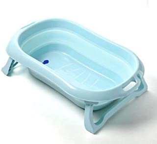 Baby tub baby tub baby tub to increase multi-function new born bath bucket children foldable thickening children bucket (Color : Blue)