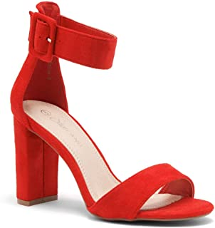ENLOVE Women's Open Toe Ankle Strap Chunky Block High Heel Sandals Dress Evening Party Pump Shoes