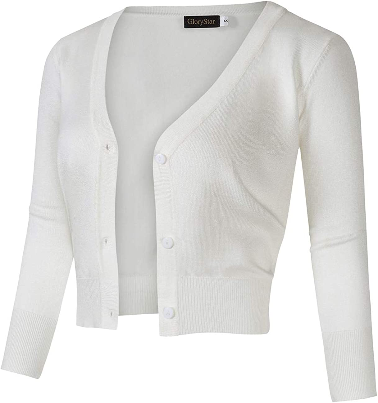 GloryStar Women's Casual Open Front Knit Cropped Bolero Shrug 3/4 Sleeve Cardigan Sweater