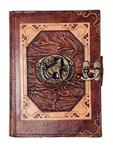 Artesanal Diario Encuadernado en Cuero Lobo Aullando Colgante Cuaderno Diario - Marron, Small