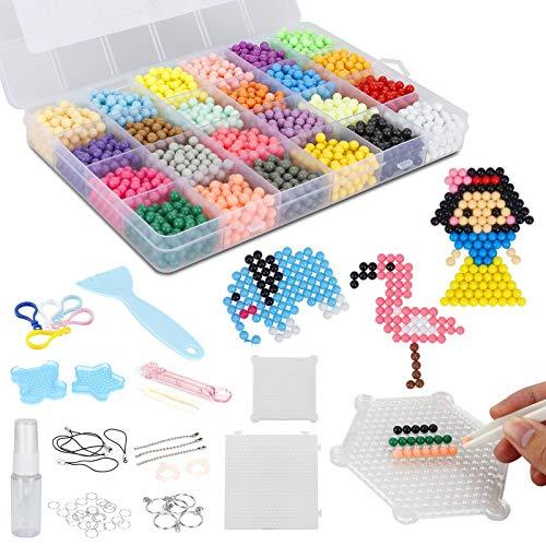 Jooheli Cuentas de Agua 3200 Perlas 24 Colors Fusible Beads Kit con Accesorios DIY de Agua Craft Sticky Kit Set para Niños Niños Crafting Juguetes Educativos