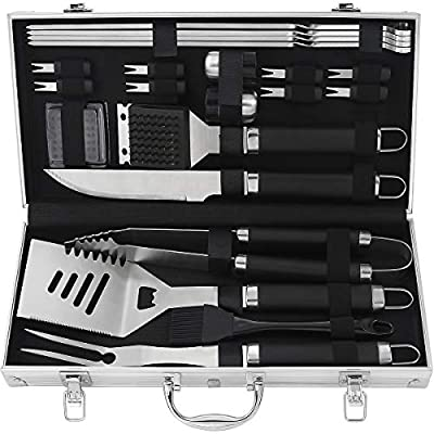 POLIGO 20pcs Heavy Duty BBQ Accessories Stainless Steel BBQ Grill Tools Set for Camping - Outdoor Barbecue Grill Utensils Set in Aluminum Case - Perfect Grilling Kit for Father's Day Birthday Gift Men